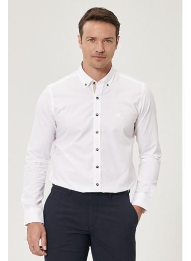 Beymen Business 4B2020200016 Slim Fit Gömlek Armürlü Beyaz
